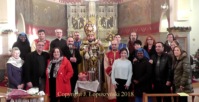 Bishop Hovakim Manukayan is seen here at the Walsall Church with some of his flock and also with members of the Roman Catholic Community who came to show their support.